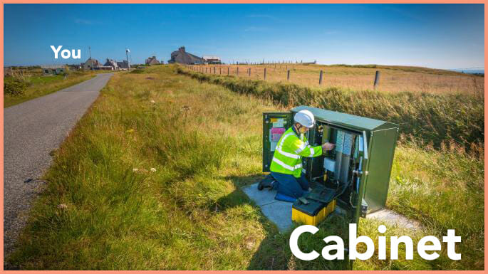Engineer servicing a rural broadband cabinet