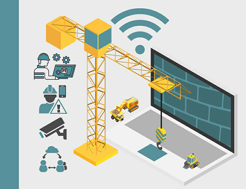 Icons depicting various uses of internet connectivity on a construction site