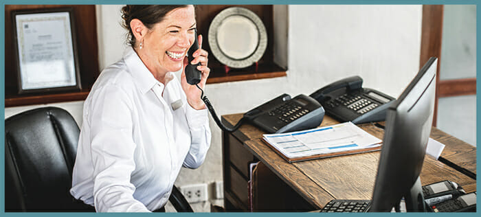 Worker using SIP trunking system in an office