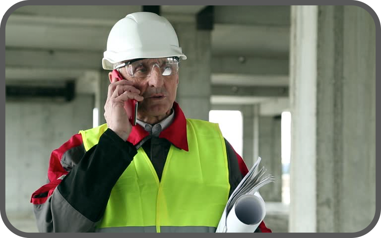 man giving communications over phone