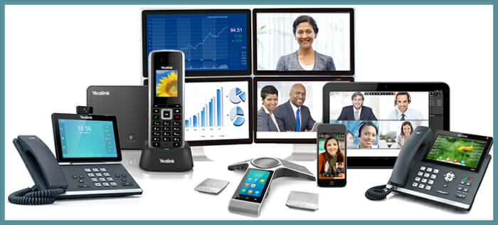 Collage of types of new phone system solutions including landline, mobile and VoIP