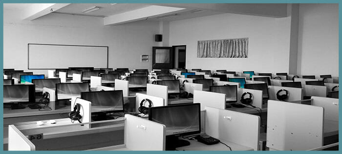 Call centre using VoIP phone system for a large office