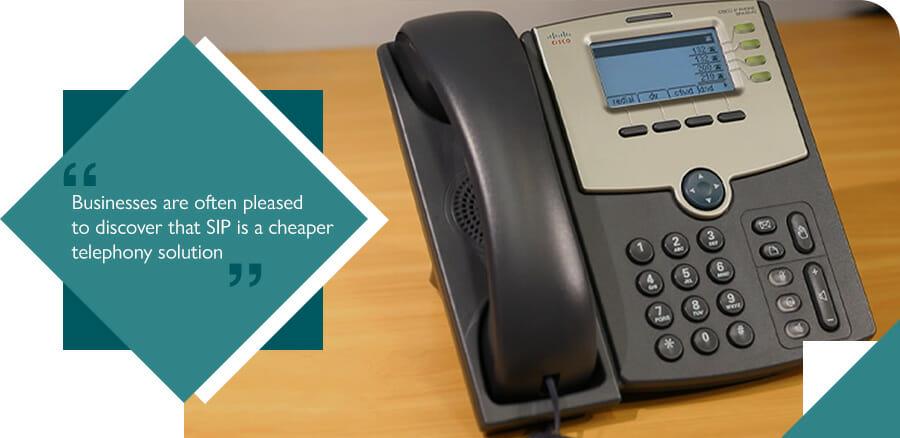Cisco 504G VoIP phone system on desk