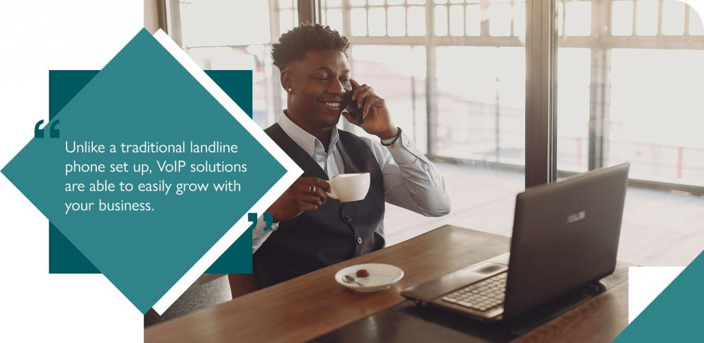 Small businesses allowing employee to working remotely using VoIP phone