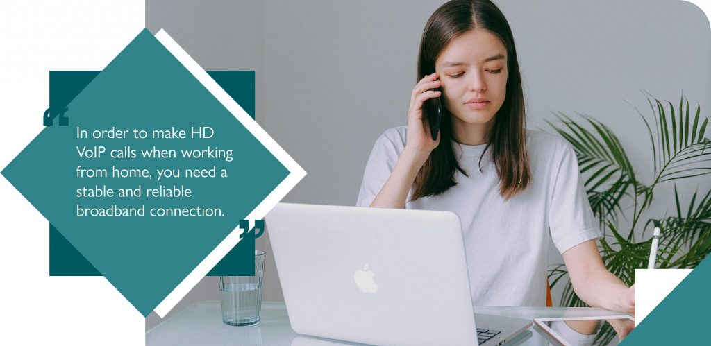 Employee using home broadband to make VoIP call