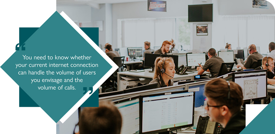 Business call centre using VoIP phone system to connect with customers